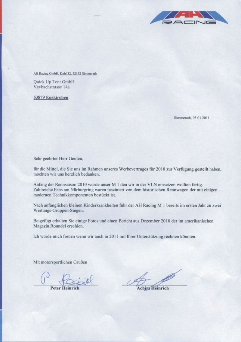 AH Racing Dankes-Brief aus 2011